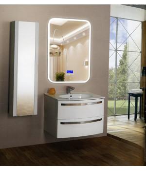 Зеркало в ванную комнату с подсветкой, часами и музыкой Амелия